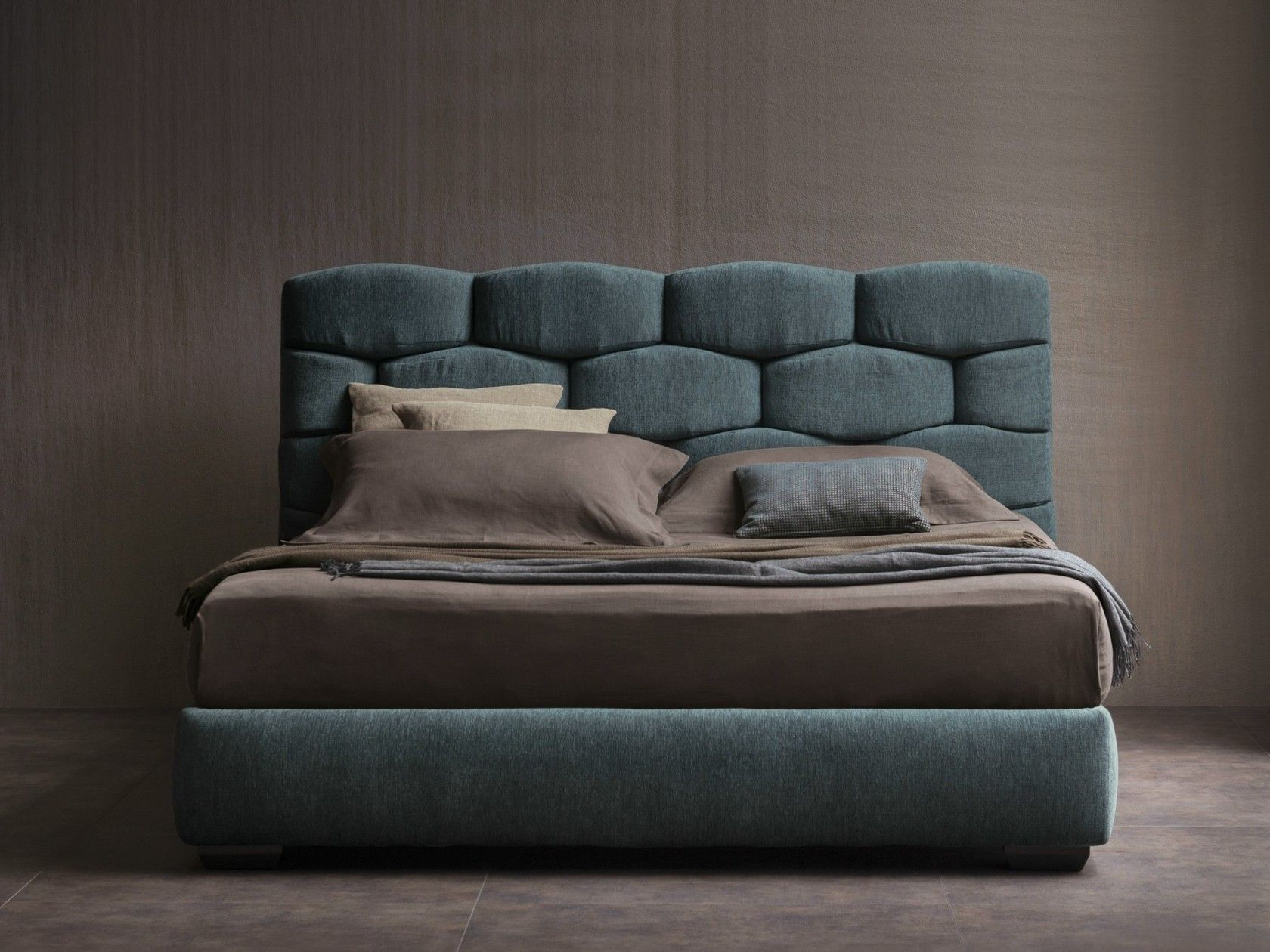 Double bed with upholstered headboard MAJAL   Double bed by Flou ...