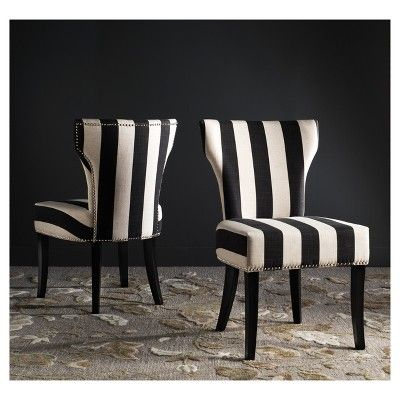 Set Of 2 Dining Chairs Black White Safavieh Adult Unisex Striped Dining Chairs Black White Dining Room Black White Chair