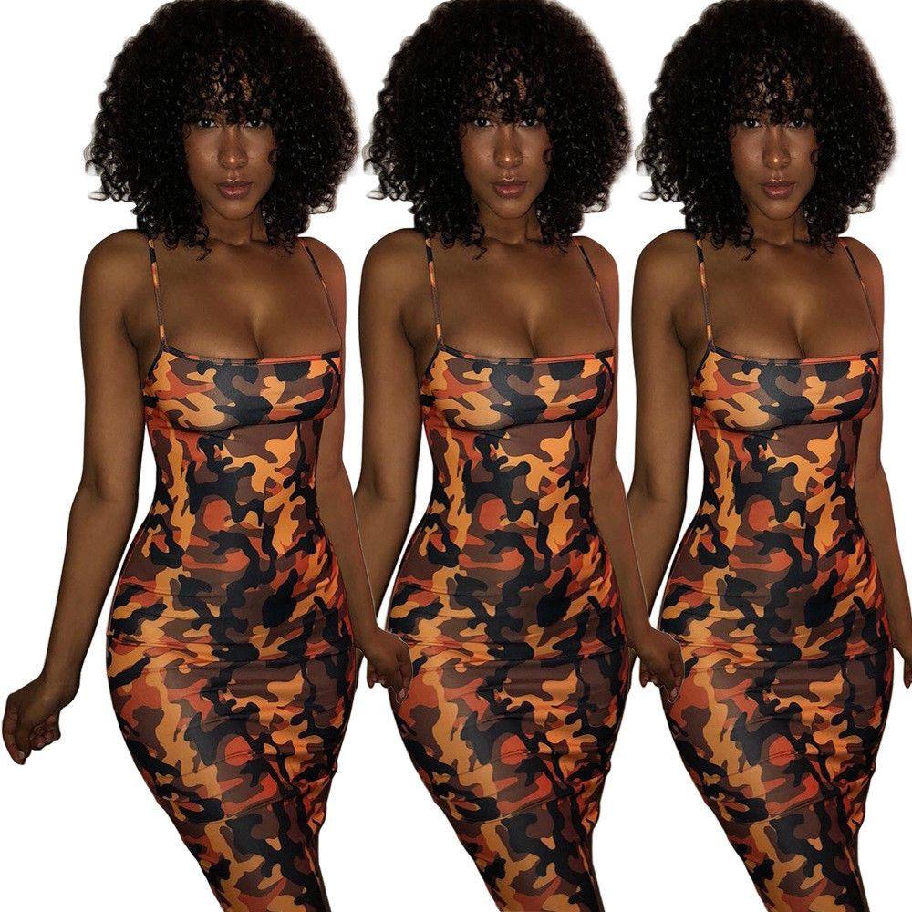 15.18 | Women's Sexy Bodycon Spaghetti Yellow Camo Camouflage Party Casual  Dress ❤ #womens
