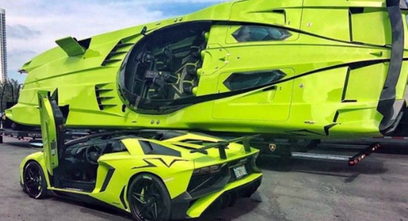 For 2 2m You Could Land This Bright Green Lamborghini Aventador Plus A Matching Speed Boat American Luxury Lamborghini Aventador Green Lamborghini Speed Boats