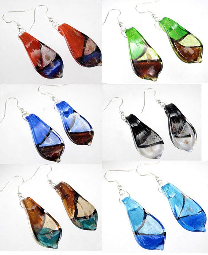 Gold Dust Handmade Leaf Murano Lampwork Glass Earring Dangle Silver P Hook