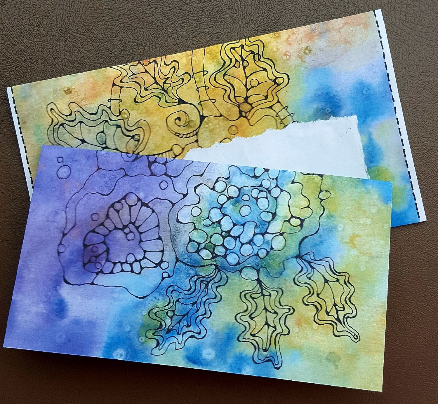 Handpainted Mailing Envelope Stationery Print Greeting Card