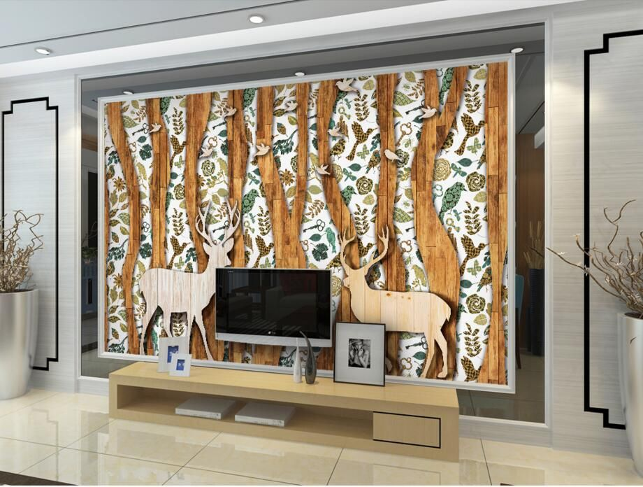 American elk forest bird Abstract wood grain pattern wallpaper - bar im wohnzimmer