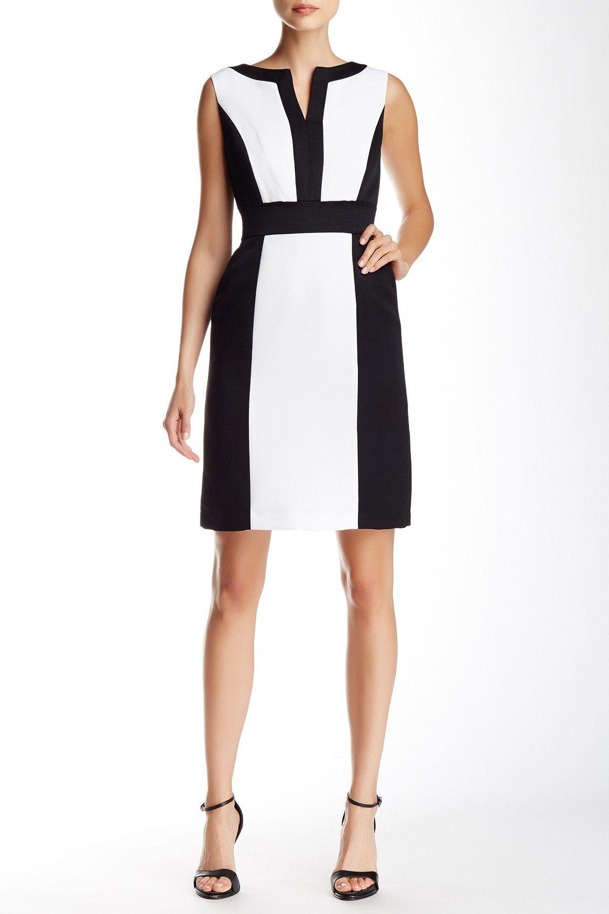 Banded colorblock sheath dress