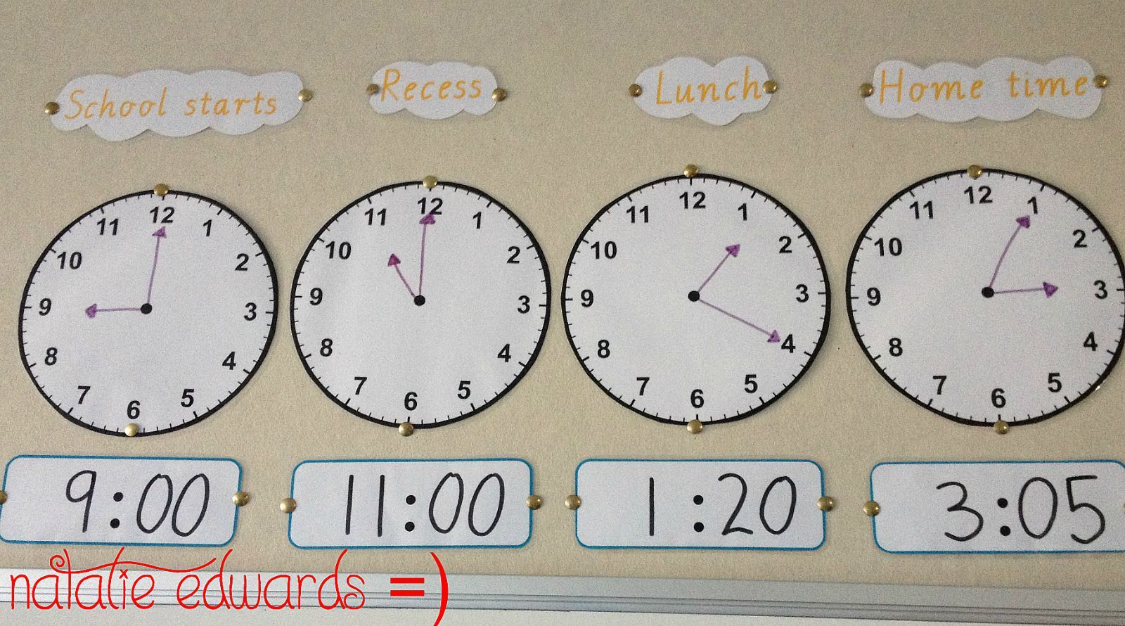 This clock display shows the students the analogue and digital clock times for when the day starts, recess time, lunch time and home time.