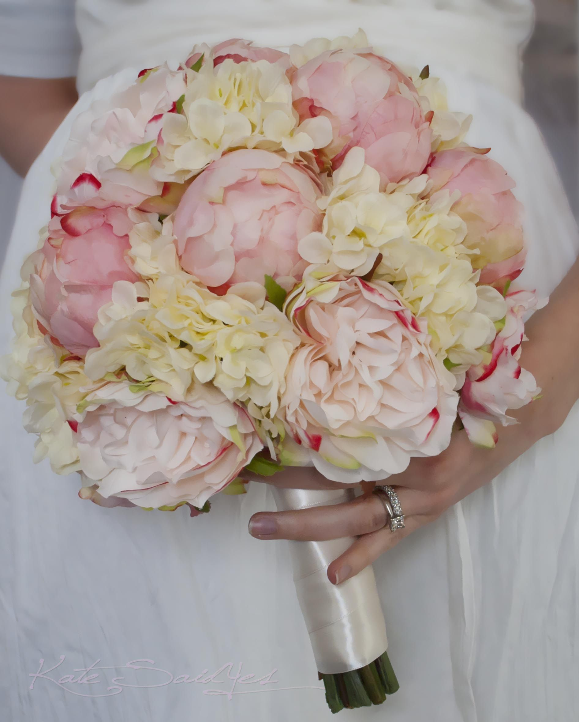wedding bouquet blush pink peonies and garden roses with ivory hydrangeas by kate said