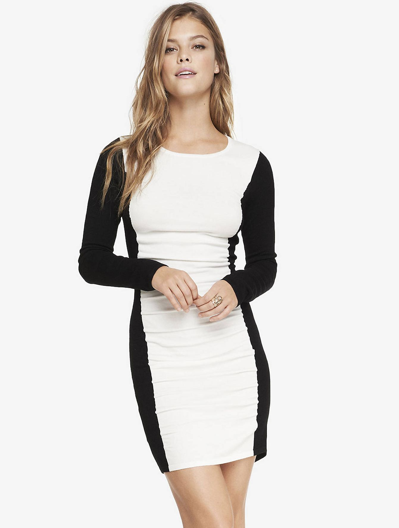 Shop white black long sleeve bodycon dress online sheinside offers