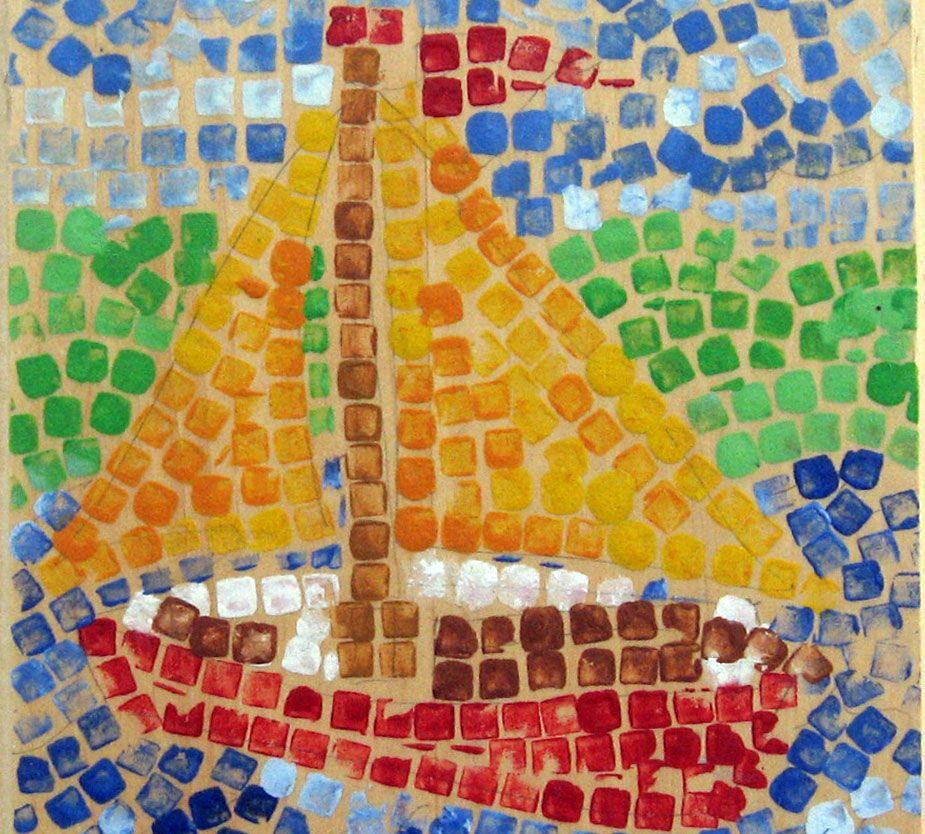 Artist Inspired Art Kids Colorful Mosaic Nature Simple Materials With