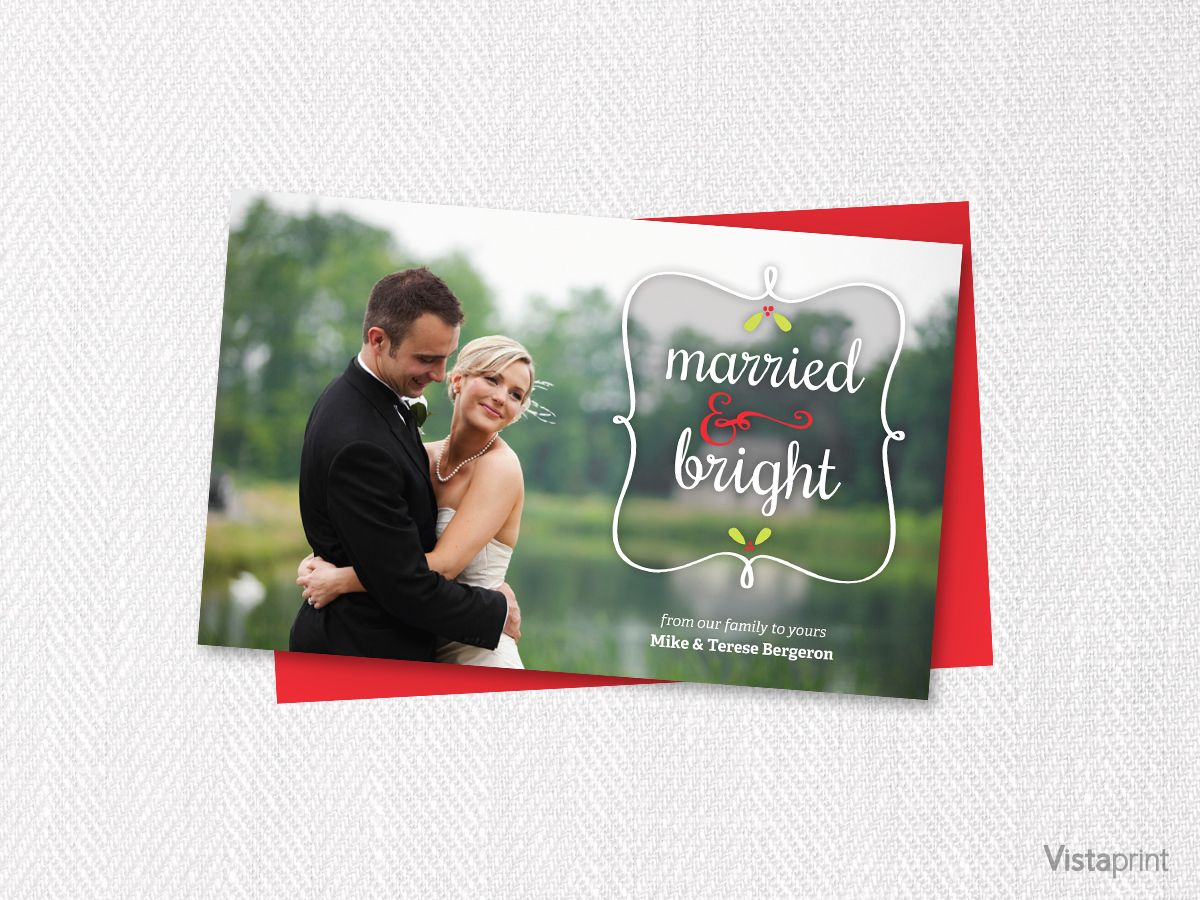 Married Bright Holiday Card Vistaprint With Images Holiday