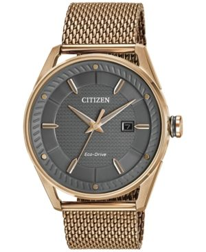 4a7b8f26f Citizen Drive from Citizen Eco-Drive Men's Rose Gold-Tone Stainless Steel  Mesh Bracelet Watch 42mm BM6983-51H - Rose