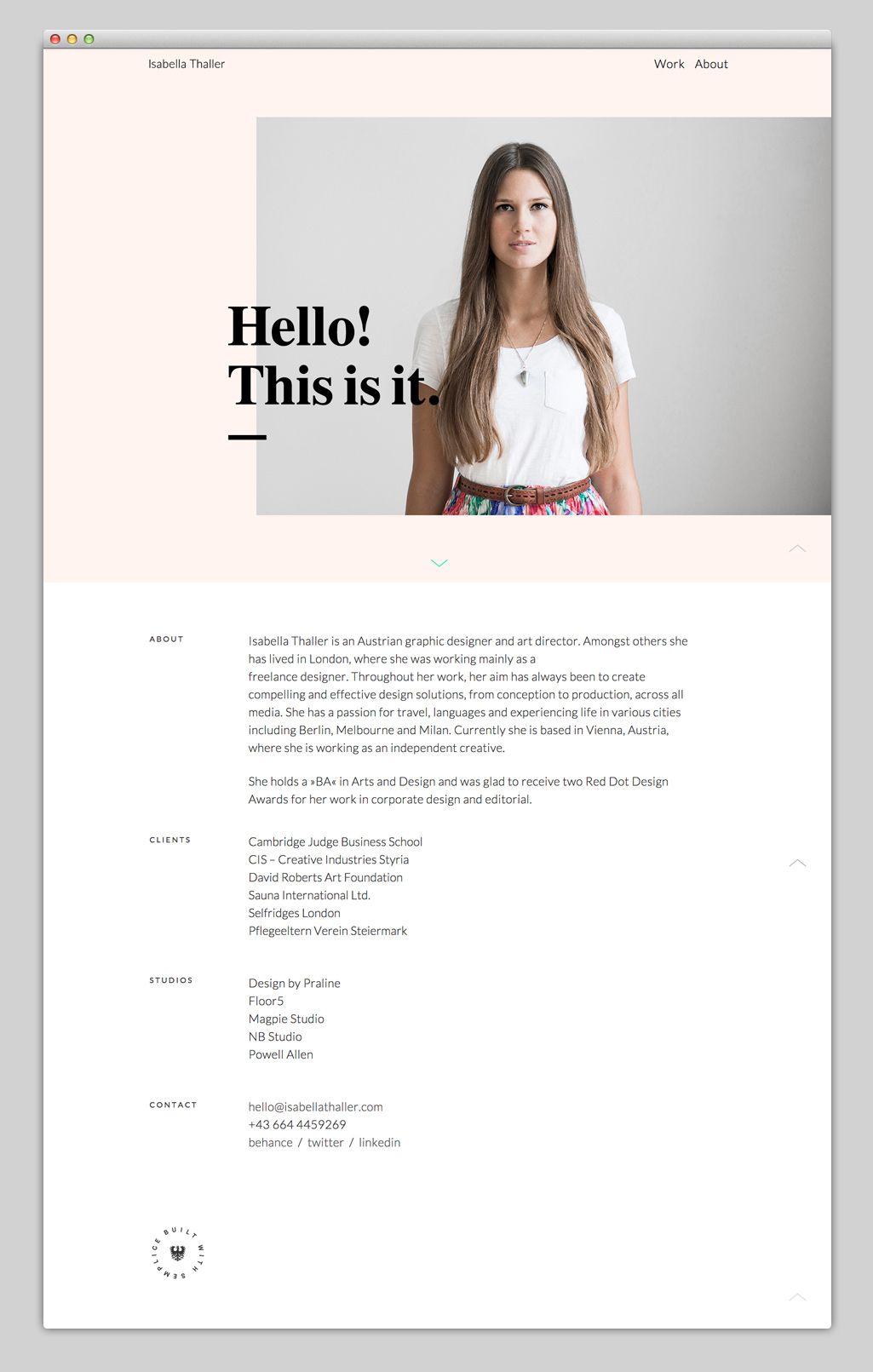 Isabella Thaller Built With Semplice Portfolio Web Design Web Design Tips Minimal Web Design