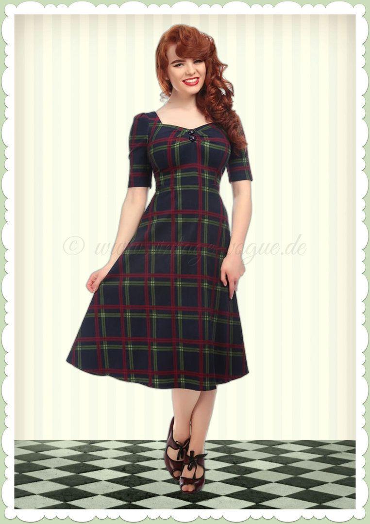 08414215744e Collectif 50er Jahre Carmen Tartan Vintage Kleid - Dolores Doll - Dunkelblau
