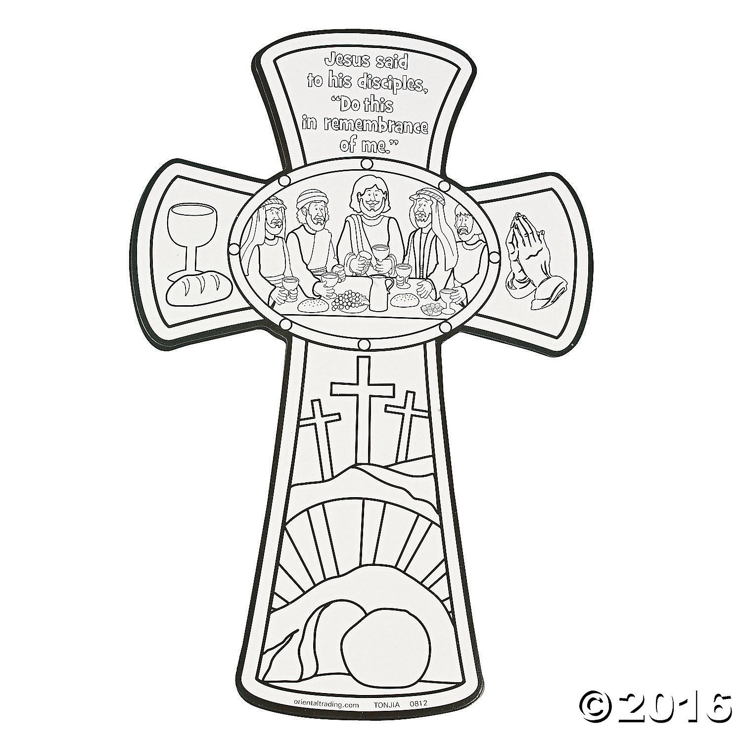 color your own last supper cross cutouts  sunday school