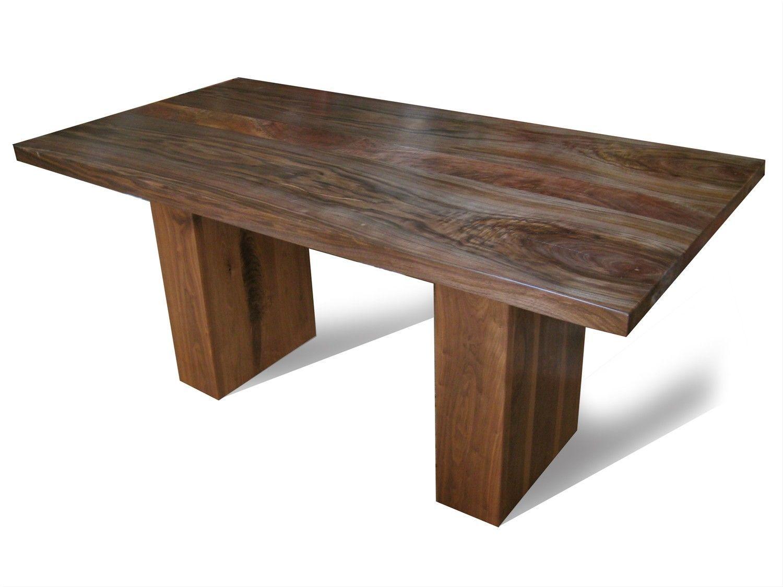 Custom Made Walnut Dining Table With Pedestal Legs