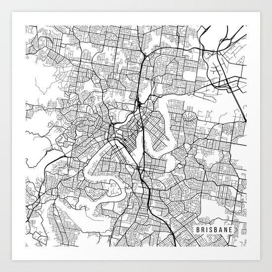 Brisbane Map Australia.Brisbane Map Australia Black And White Art Print Rex Bedroom