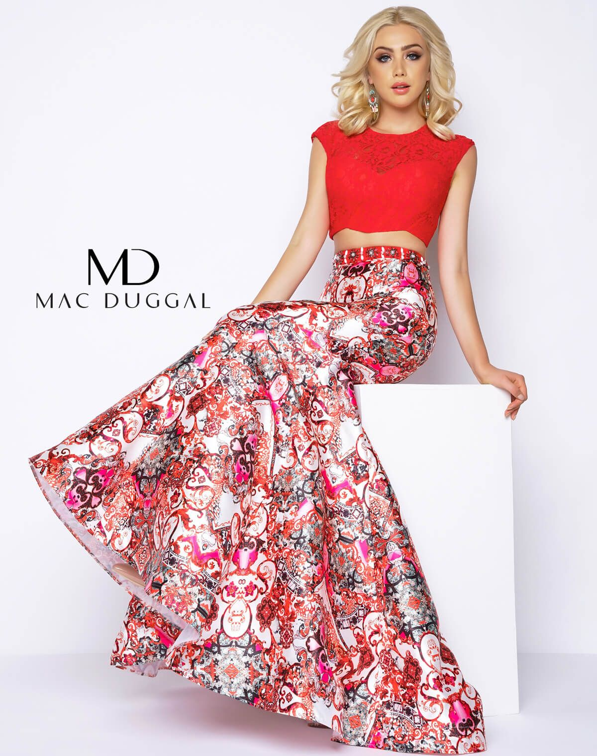 Two piece, fashion forward, Red Multi prom dress with lace applique ...