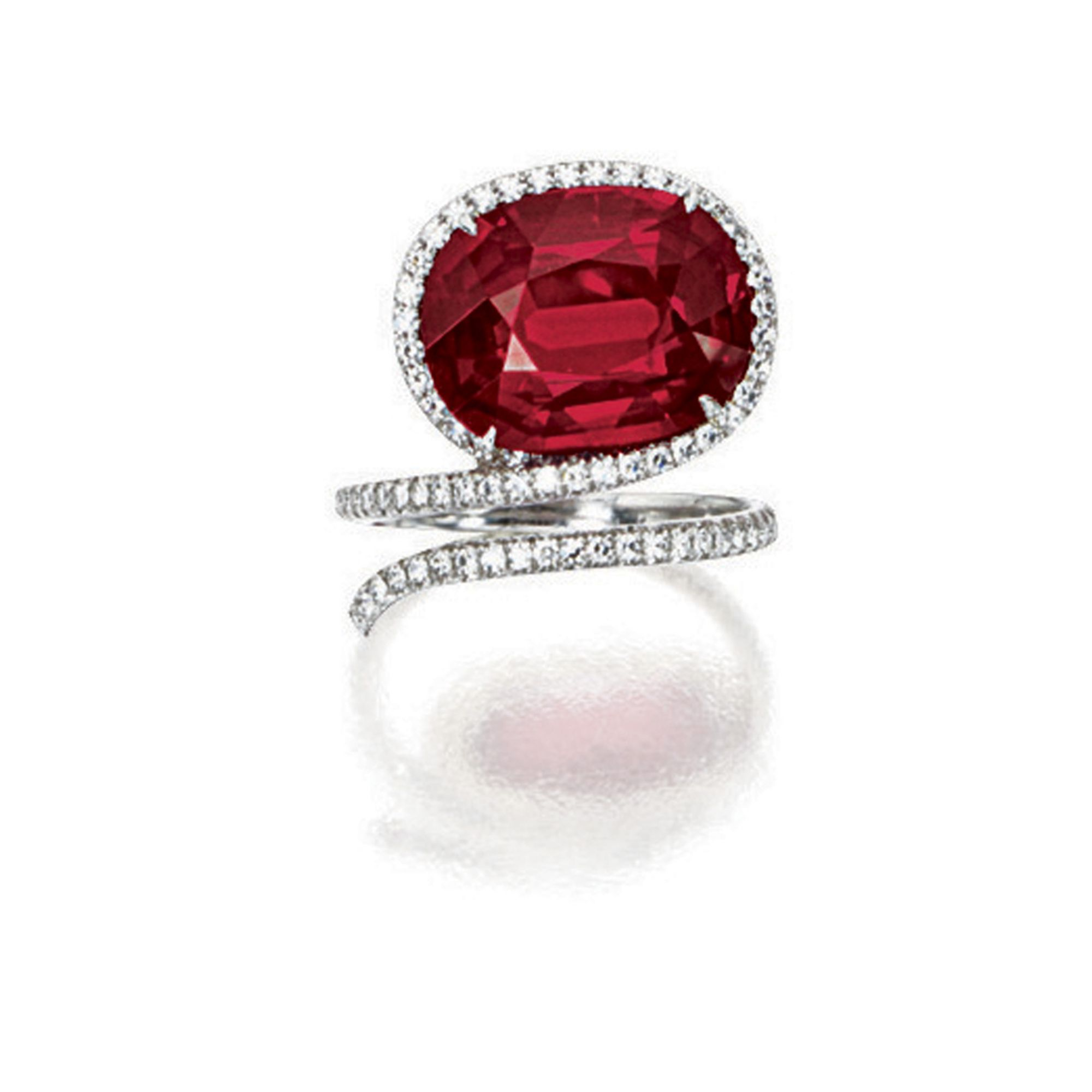Superb ruby and diamond ring james de givenchy for taffin set with