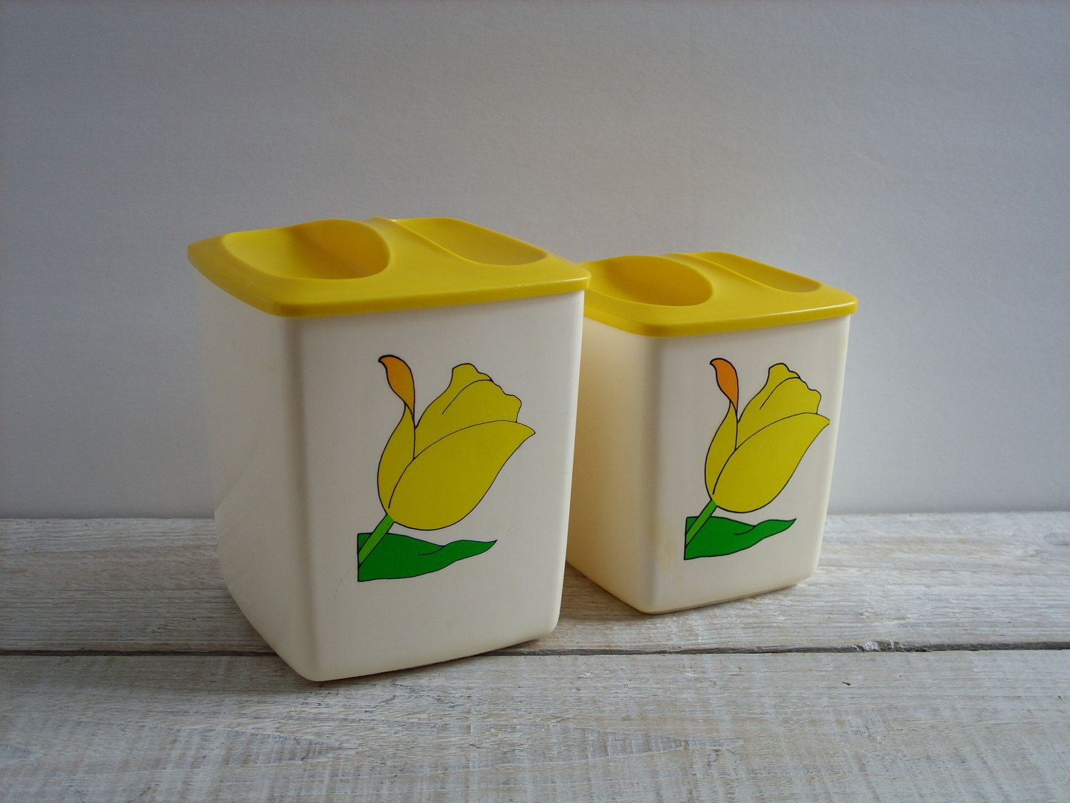 Vintage Yellow Tulip Canister Set ~ Plastic Pantry Counter Top Storage  Canisters ~ Small Flour Sugar Tea Coffee Pair (B5)
