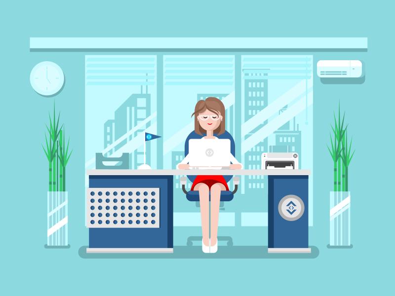 Secretary Flat illustration, Illustration, Flat design