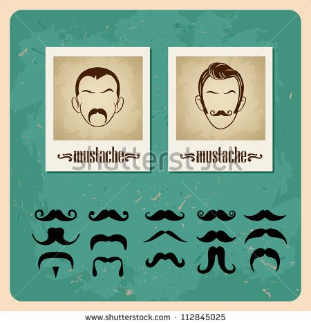 set of vector illustration faces with mustaches