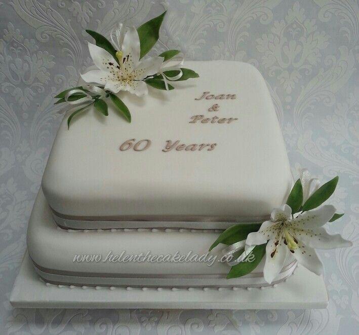 Cake Decorations Diamond Anniversary : Lily themed 60th diamond wedding anniversary cake by Helen ...