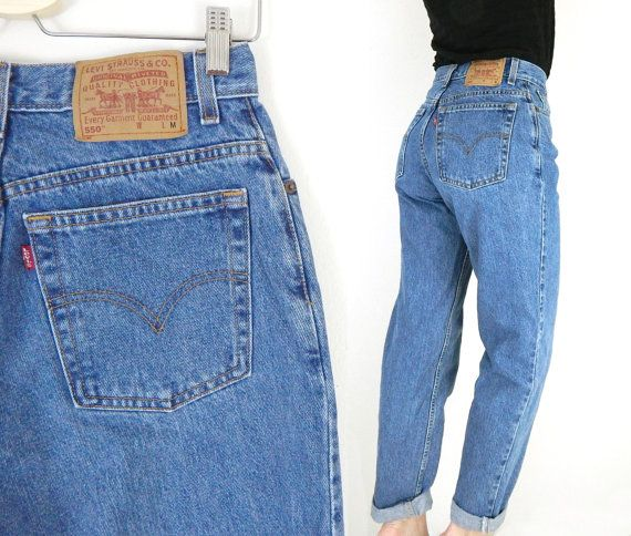 38448405 Vintage Levis 550 Women's High Waist Tapered Jeans - Size 10 ...