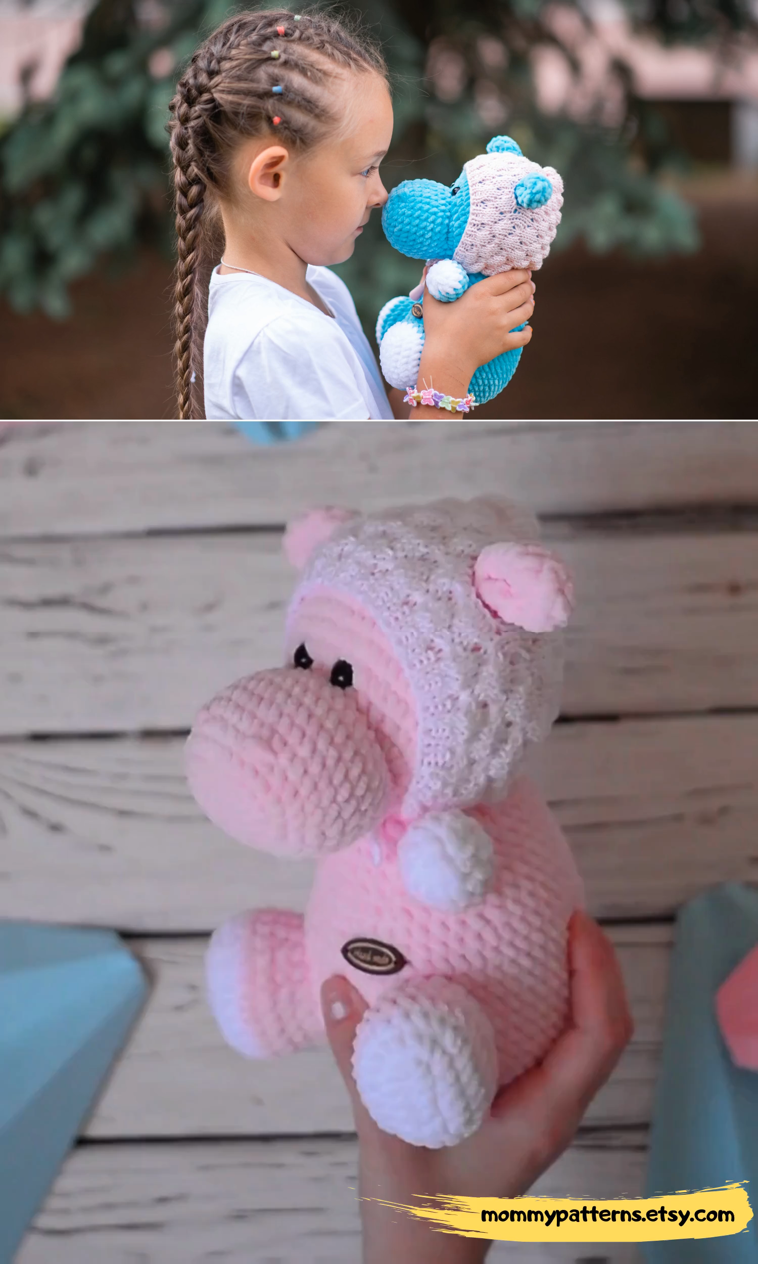 Amigurumi EASY crochet pattern Hippo. This crochet pattern contains a detailed d...