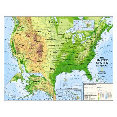 National Geographic Maps Kids Physical Usa Wall Map Graded 4 12