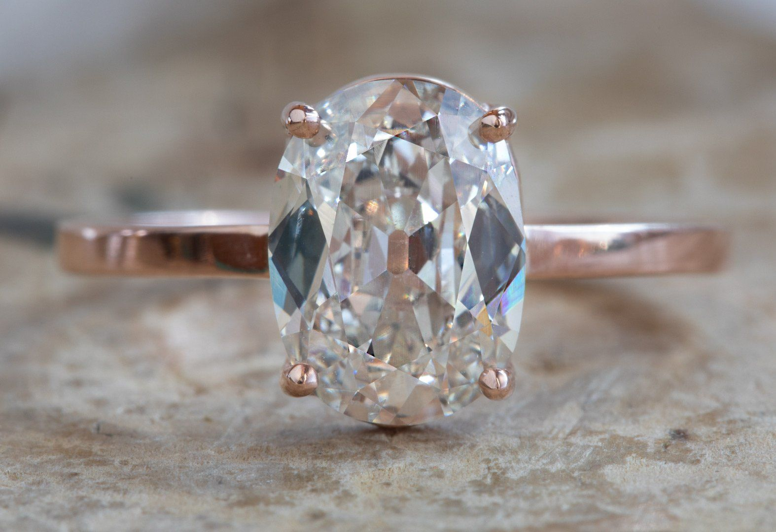 One of a Kind Pale Pink Old Mine Cut Diamond Engagement Ring - Engagement ring diamond cut, Engagement rings, Classic engagement rings, Diamond cuts, Rose gold band ring, Vintage engagement rings - stacking bands shown are available here