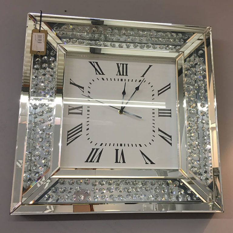 Diamond Glitz Silver Mirrored Wall Clock | Picture Perfect ...