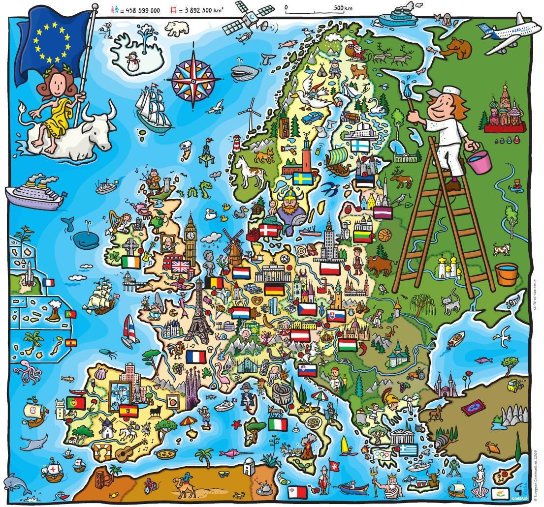 A children's map of the European Union (before Romania and