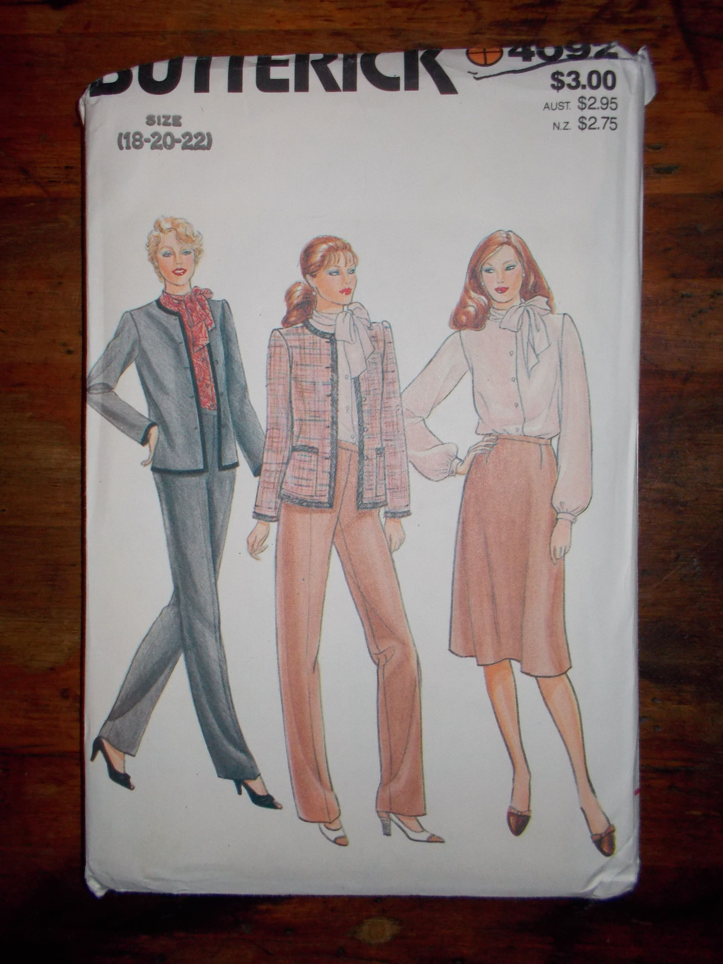 Butterick 4092 Junior//Teen Jacket Skirt and Pants   Sewing  Pattern