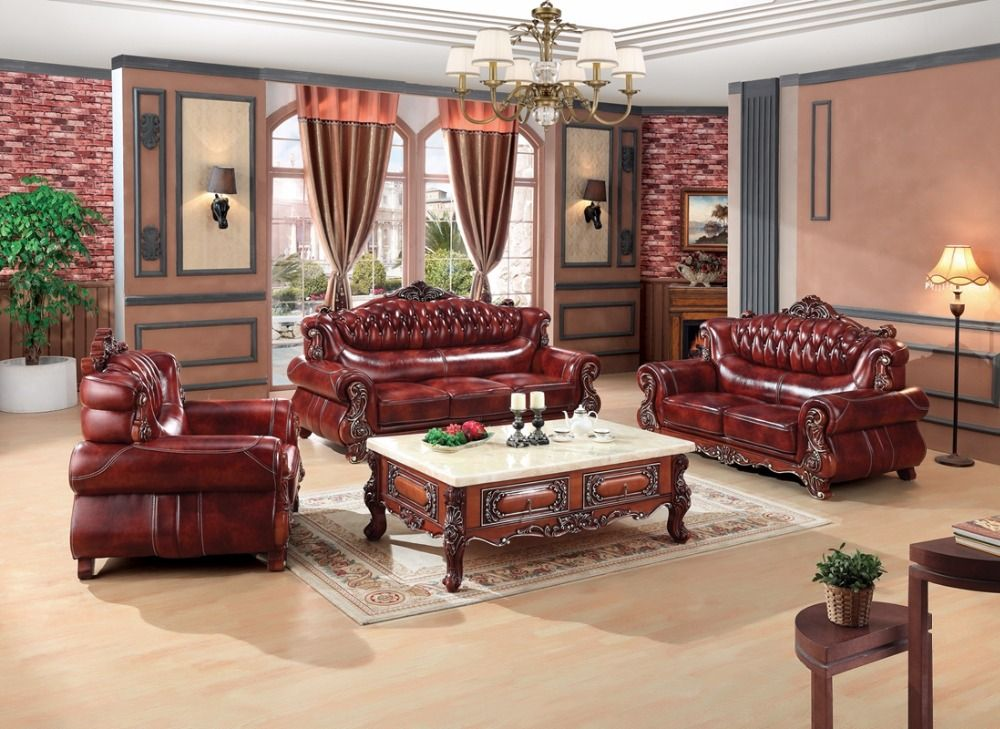 Luxury European Leather Sofa Set Living Room Sofa China Wooden