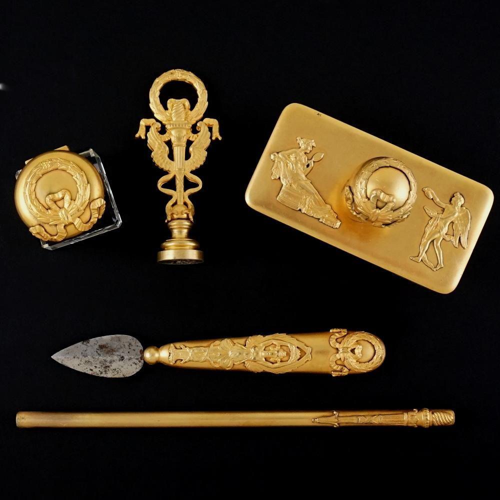 Antiques Desktop Items Antique 14k Gold Carved Desk Set Carneol Stamp Seal Knife Pointer 1800-1850 Fine Quality