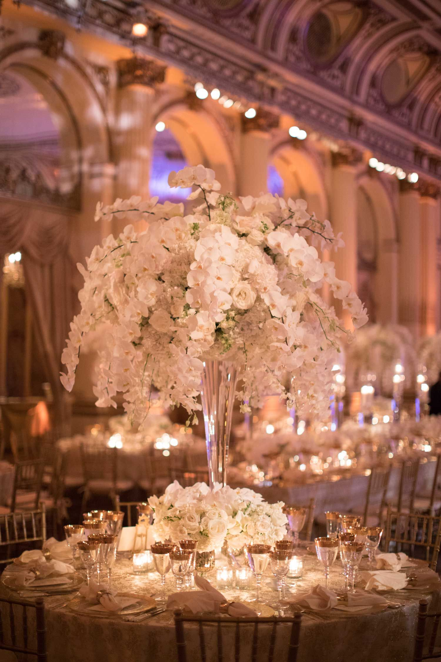 Opulent Luxury Wedding With Timeless Color Palette In New York City Inside Weddings Orchid Centerpieces Wedding Wedding Floral Centerpieces Wedding Inside