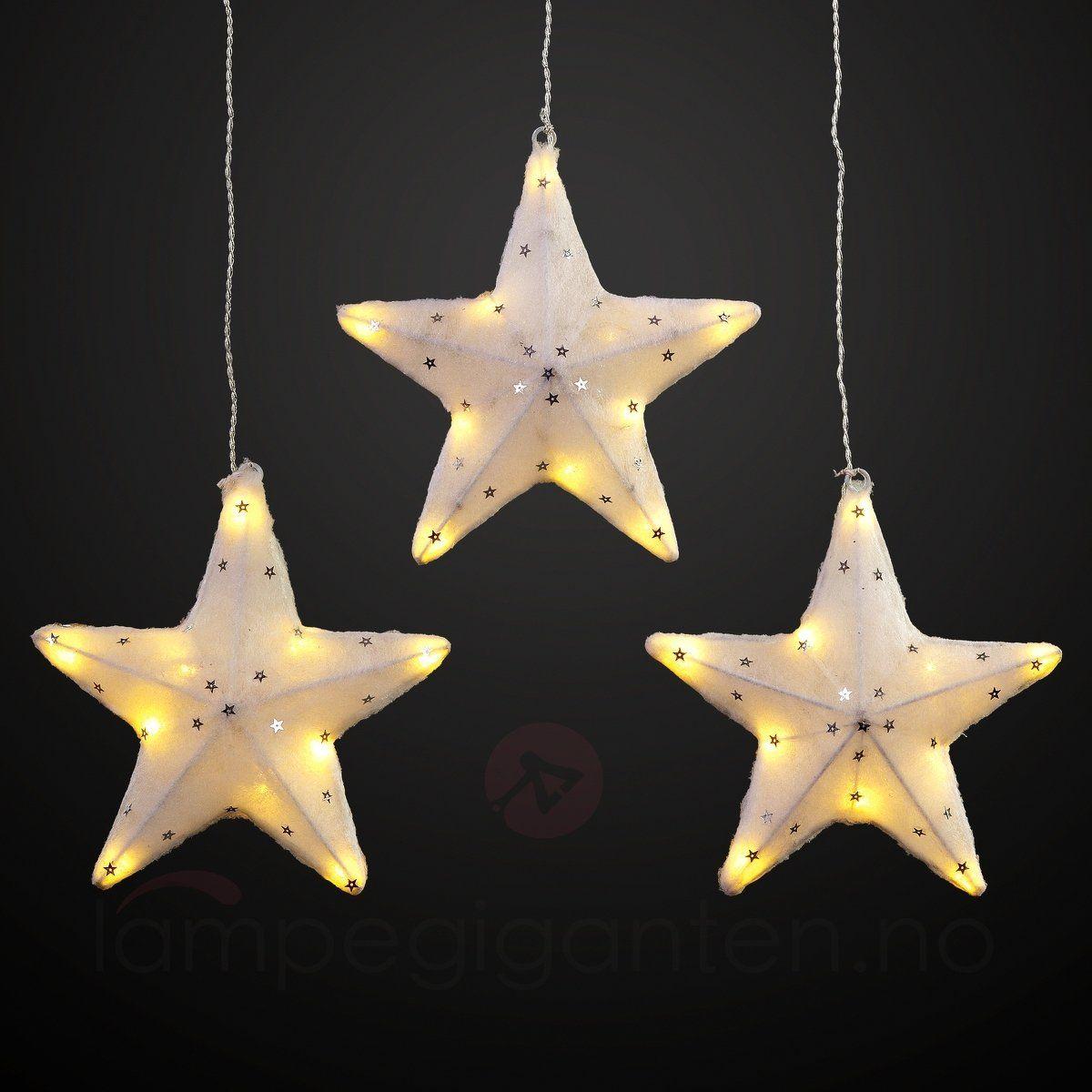 Lysende LED-stjerne i treer sett, 19 cm 4523123