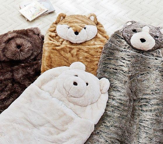 Faux Fur Sleeping Bags Animal Sleeping Bag Tween Girl Gifts Kids Nap Mats