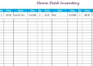 10 food inventory templates free printable word excel pdf