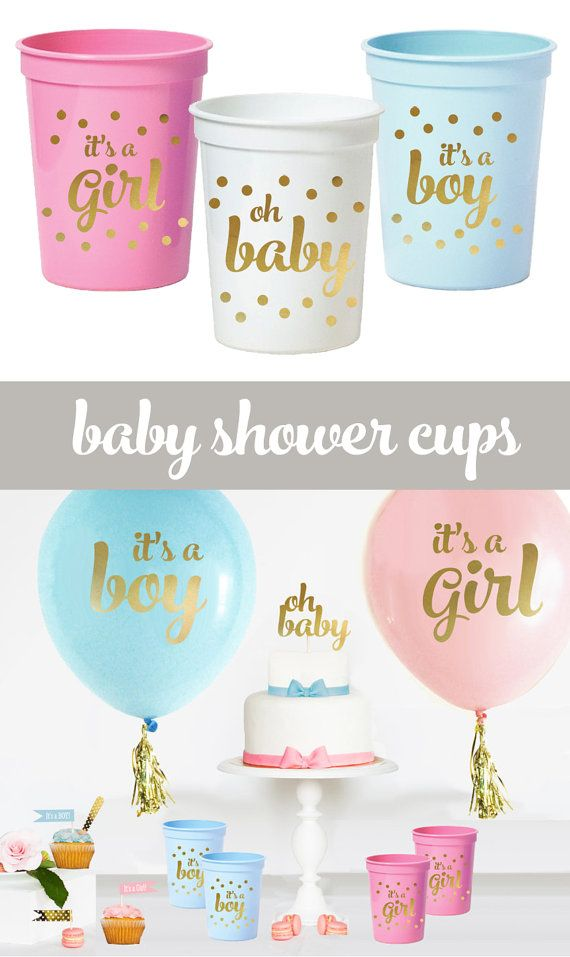 Gender Reveal Cups Oh Baby Baby Shower Cups It S A Etsy Girl Baby Shower Decorations Baby Shower Cups Gender Reveal Party Decorations