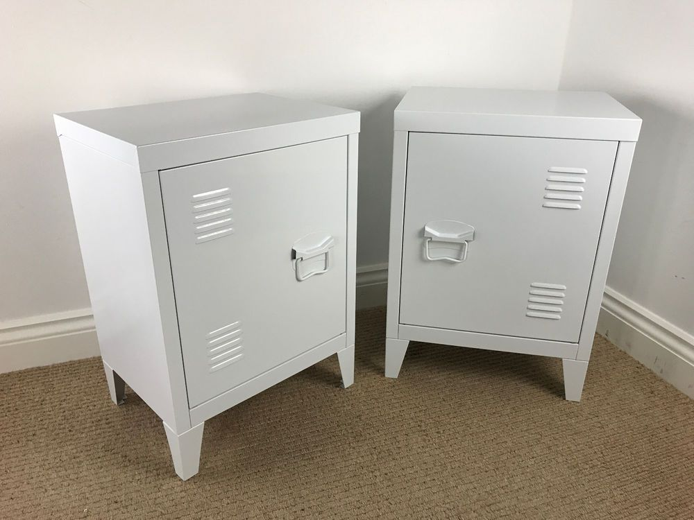 Pair Of Retro Locker Style Side Cabinets White Vintage Industrial