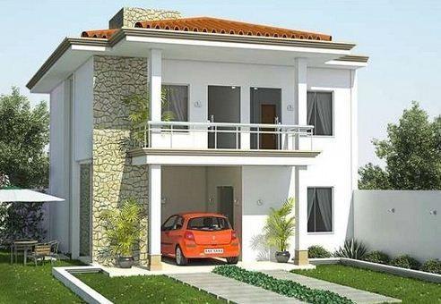 Fachada de casa moderna de 2 pisos y 125 m2 Casas minimalistas - casas minimalistas