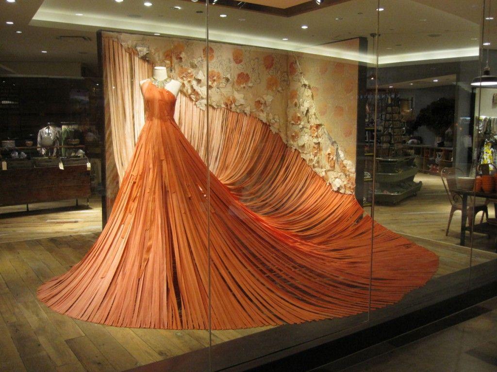 anthropologie paper dress window display paper fabric display clothing displays design. Black Bedroom Furniture Sets. Home Design Ideas