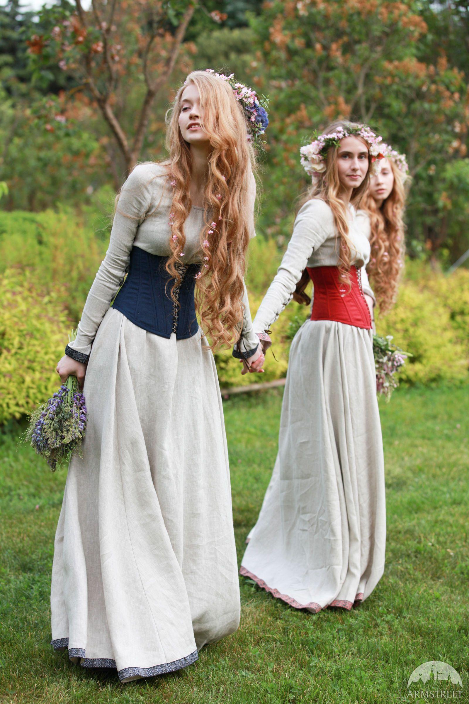 "Boned Corset ""Secret Garden"" in 2020 Medieval clothing"