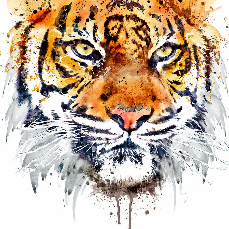 Tiger Painting Tiger Face Close Up By Marian Voicu Tiger Face Close Up Art Tiger