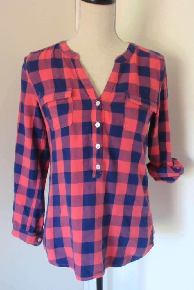 37457155 Old Navy Blue Coral Plaid Flannel Tunic Shirt Size XS Womens #OldNavy  #Tunic #Casual