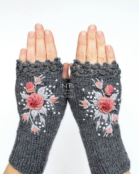 Gray Gloves With Pink Roses, Knitted Fingerless Gloves, Embroidered Mittens, Gloves & Mittens, Gift Ideas, For Her, Accessories, Grey Mitts