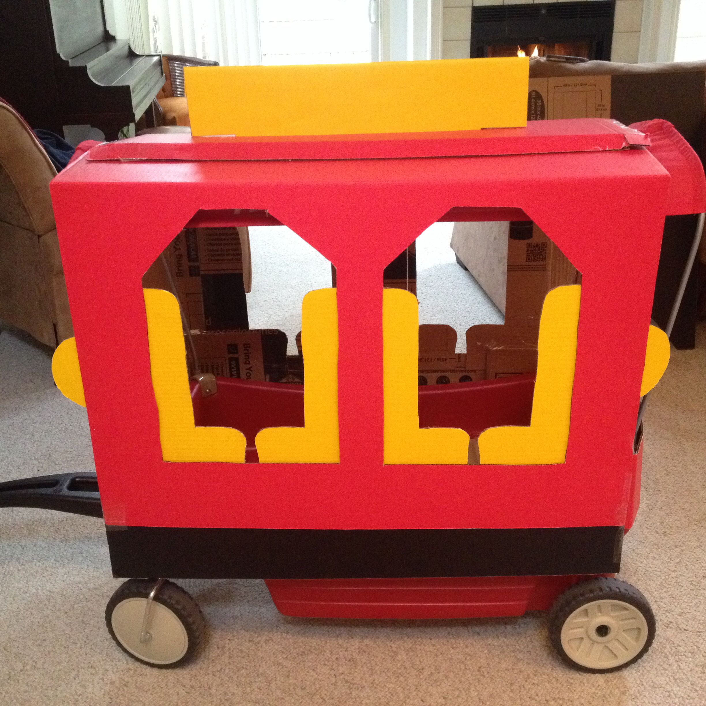 We turned our wagon into a trolley! … Daniel tiger