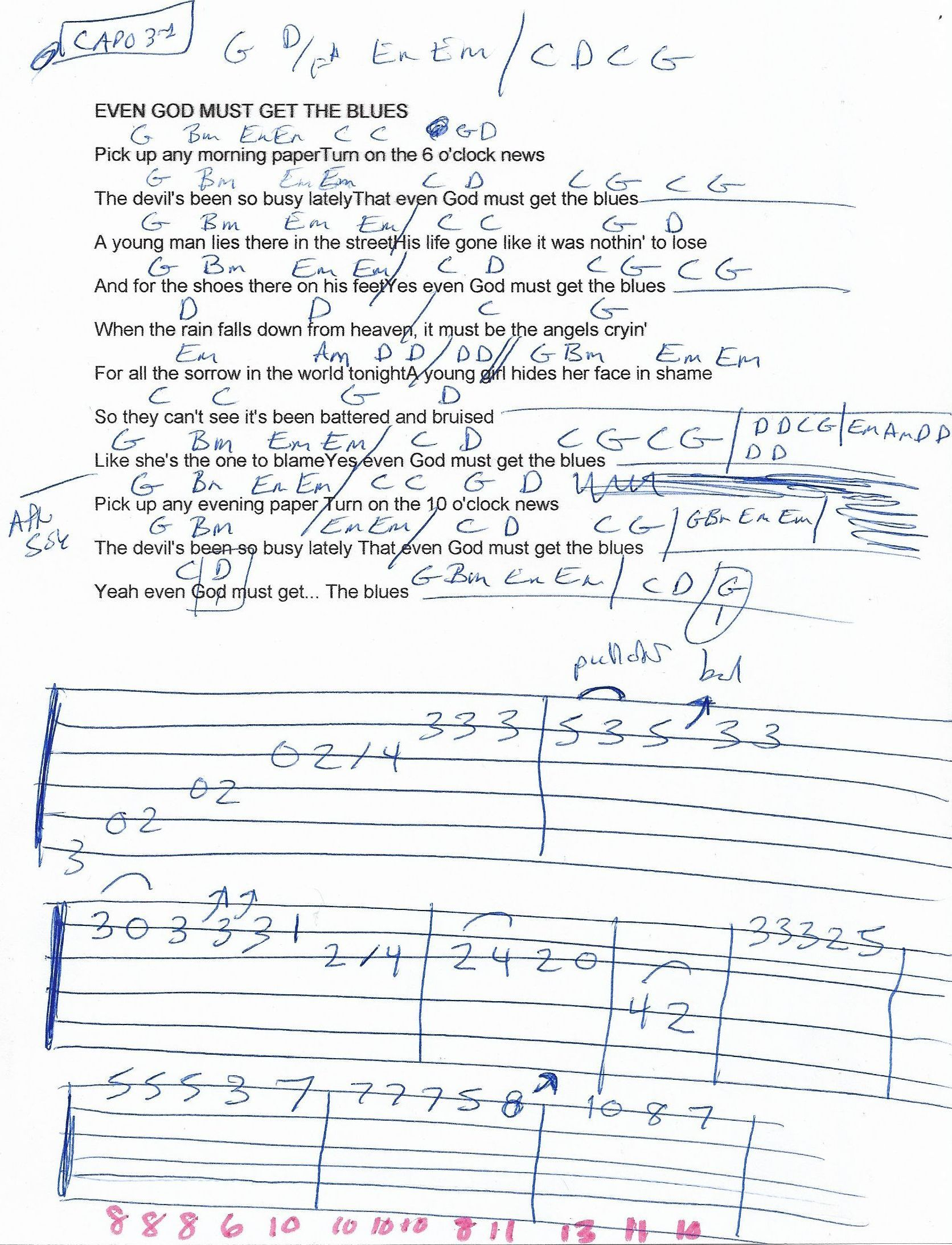 Even God Must Get The Blues Jo Dee Messina Guitar Chord Chart