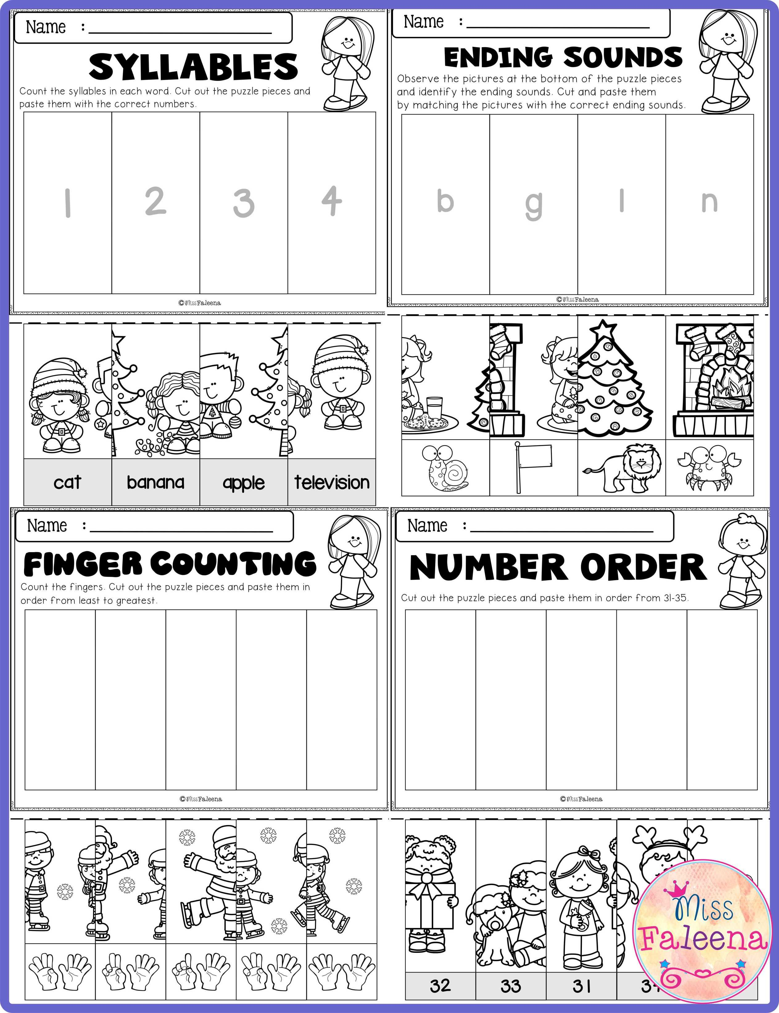 December Math And Literacy Puzzles