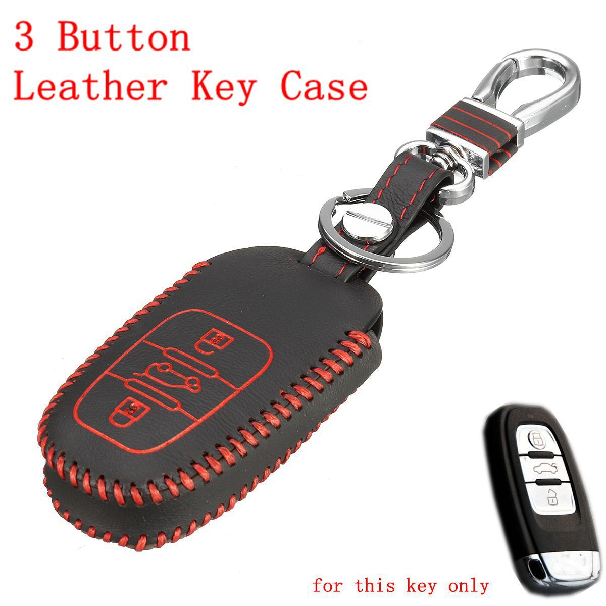 3 buttons leather key case fob holder cover for audi a4 q5